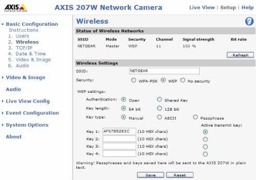 wireless configuration page axis 207W