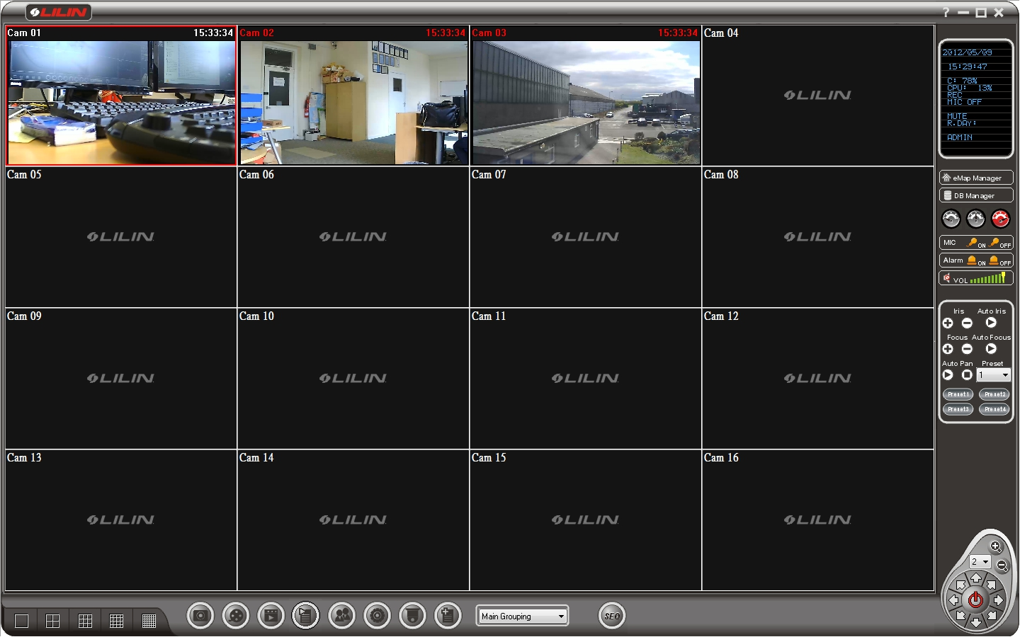 Review of merit lilin 39 s 72 channel vms cmx software for Security camera placement software