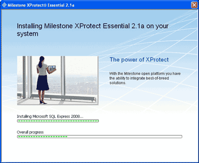 Milestone XProtect is installing - screenshot