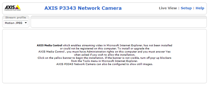 Axis network camera home page with no ActiveX