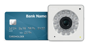 Y-cam cube 1080 alongside credit card