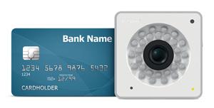 Y-cam cube 1080 alongside credit card