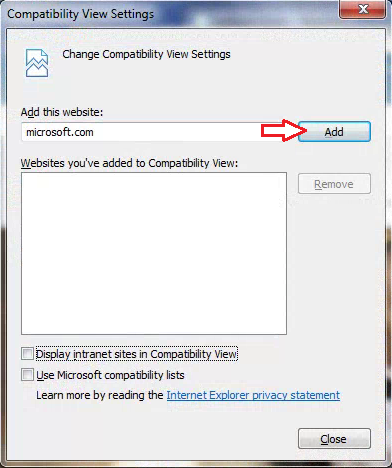 IE11 compatibility view settings