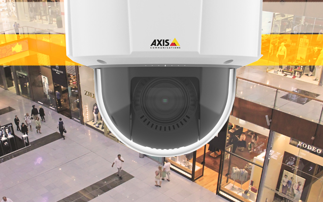Axis M5525-E overlooking shopping centre