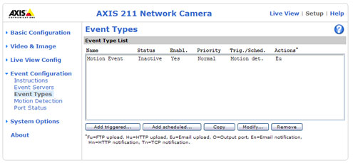 Axis 211 event types screenshot with a motion event