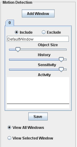 Axis motion detection window settings