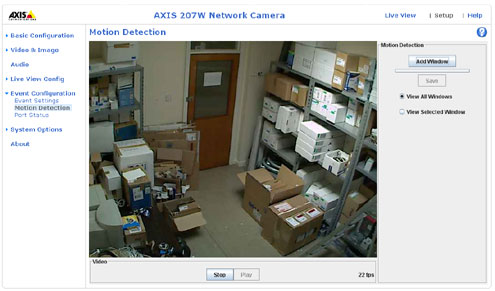 Axis 207W motion detection screenshot
