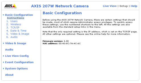 Axis 207W basic configuration setup page
