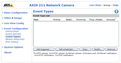 Axis event types screenshot