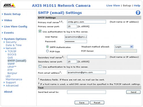 Screenshot of entering SMTP details into a Axis IP camera