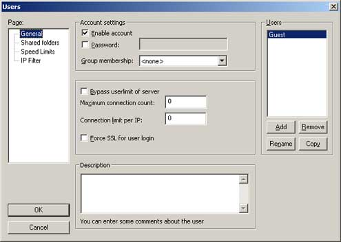 Screenshot of FileZilla guest users dialog box with guest user added