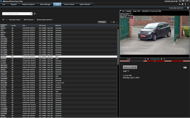 Screenshot of Milestone LPR recoginising a car number plate or license plate