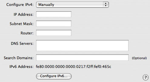 Manually inputting IPv4 Mac screenshot