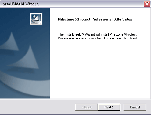 Milestone XProtect Professional Installation wizard - start screen