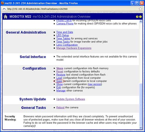 Screenshot of Mobotix admin menu