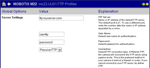Configure An FTP Image Transfer For A Mobotix IP Camera Network