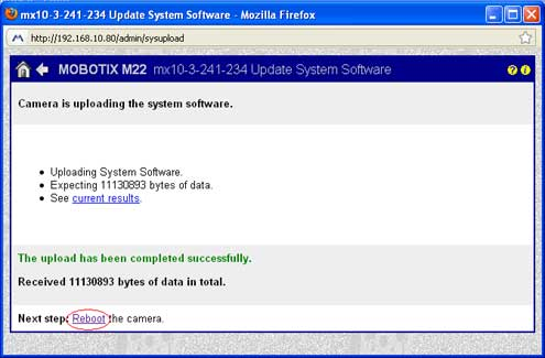 Screenshot of Mobotix Camera Completed System Update