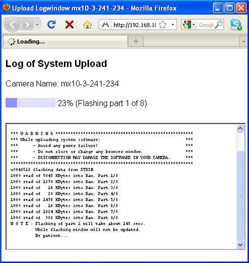 Screenshot of Mobotix system update camera log window
