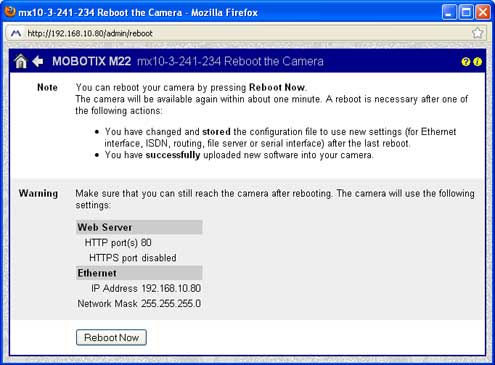 Screenshot of Mobotix camera reboot screen