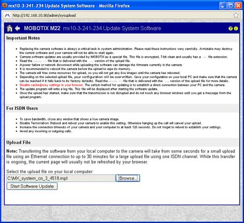 Screenshot of Mobotix update system software