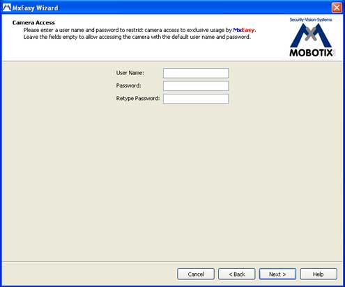 Screenshot MxEasy Wizard securing with username and password