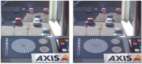 Example from Axis of two images of the same scene, the sharper image uses the P-Iris