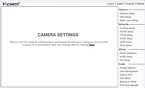 Y-cam camera settings page screenshot