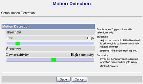 Motion detection settings in a Panasonic bl-c111