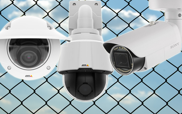Dome, PTZ and bullet IP cameras in front of chain link fence