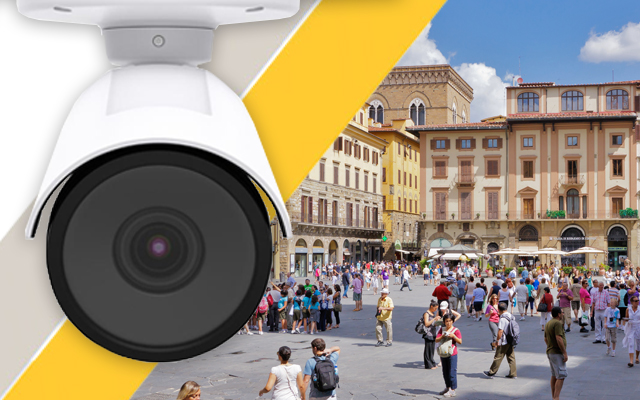 Axis P14 ip camera with a city square background