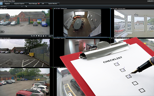 Milestone Smart Client view of multiple cameras with a ticked checklist