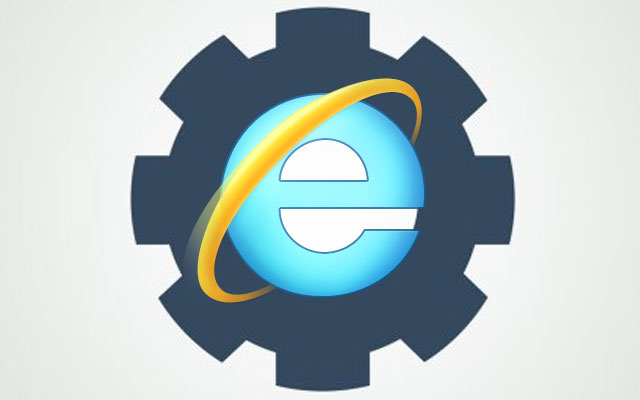 Internet Explorer logo over a cog