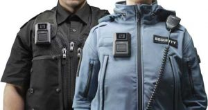 Police office and security guard wearing Axis body-worn camera
