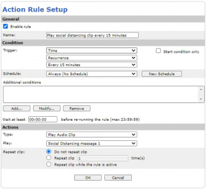 Action rules setup for Axis C1410