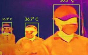 Image showing a thermal imaging camera used for temperature detection
