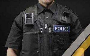 police officer wearing an Axis body worn camera