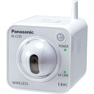 Panasonic BL-C230 wireless indoor, compact, pan/tilt IP security camera with built-in motion detection, H.264