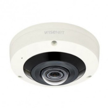 Wisenet XNF-8010RV outdoor vandal-resistant 6MP fisheye dome, 360° view, up to 15m IR & business intelligence analytics
