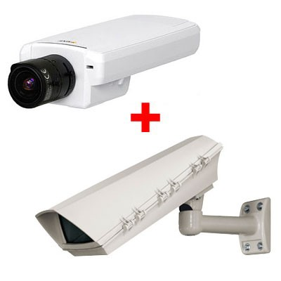 Axis P1343 outdoor bundle, varifocal lens IP surveillance camera with day/night function, on-board SD recording, H.264
