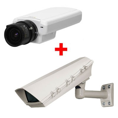 Axis P1344 outdoor bundle, HD 720p, varifocal DC-Iris lens IP security camera with day/night function, PoE