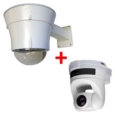 Axis 214 outdoor bundle, pan/tilt/zoom IP security camera with 18x optical zoom, day/night function