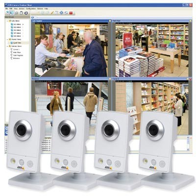 Axis M1031-W Wireless Surveillance Kit - 4 Axis M1031-W cameras and Axis Camera Station recording software