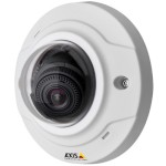 Axis M3004-V indoor vandal-resistant mini-dome IP camera with HD 720p resolution and PoE