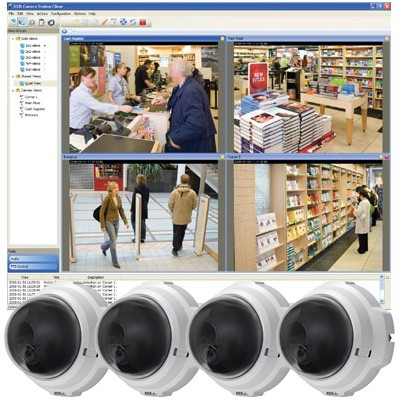 Axis M3203 Surveillance Kit - 4 Axis M3203 IP cameras and Axis Camera Station recording software