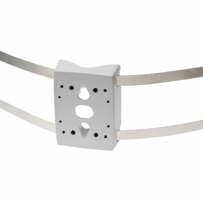 Axis T91A47 IK10 and NEMA 4X rated in/outdoor pole mount bracket with stainless straps