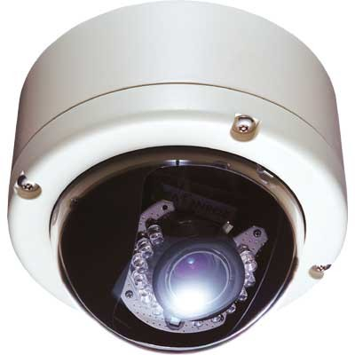 Vivotek FD6121V outdoor, vandal resistant, fixed dome IP camera with built in infrared LEDs and two-way audio