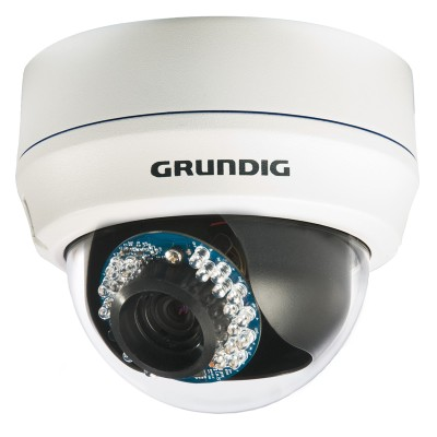 Grundig GCI-K1586V 2MP vandal resistant outdoor dome IP camera with HD1080p, 25m IR light, PoE & SD storage