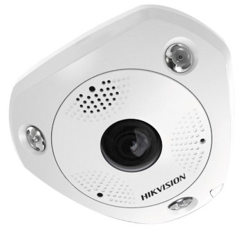 Hikvision DS-2CD6365G0-IVS outdoor fisheye IP camera with 6MP resolution, up to 15m IR, 360° view, two-way audio and PoE+
