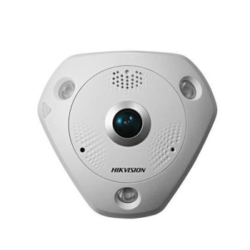 Hikvision DS-2CD63C2F-IVS outdoor fisheye IP camera with 12MP resolution, up to 15m IR, 360° view, audio support and PoE