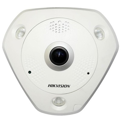Hikvision DS-2CD63C2F-IS indoor fisheye IP camera with up to 12MP resolution, 360° view, up to 15m IR and audio support
